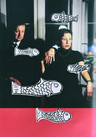 Welcher Fisch stinkt? Karola Kraus und Christian Nagel in einer zeitgenössischen Collage (O.T., Collage, Tuschestift auf Papier, Lukas Pusch, 2016)