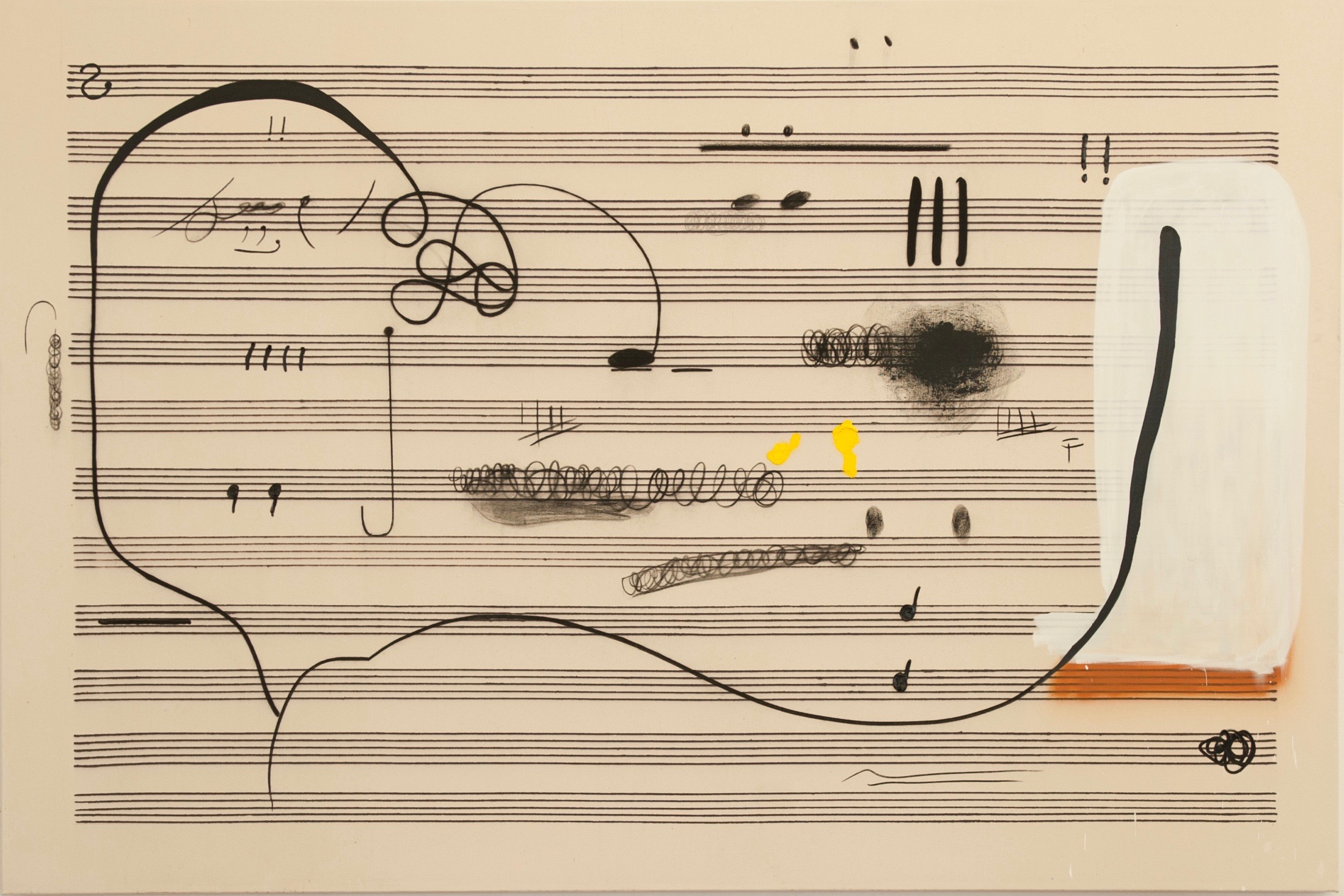 O.T., 200x300cm, Öl, Kohle und Bleistift auf Leinwand, Christian Rosa, 2015 Courtesy Galerie Meyer Kainer