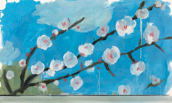 O.T. (Sibirische Aprikose) aus der Serie Flora Sibirica, Öl auf Holz, 97x58 cm, 2016, Foto: Alek Kawka