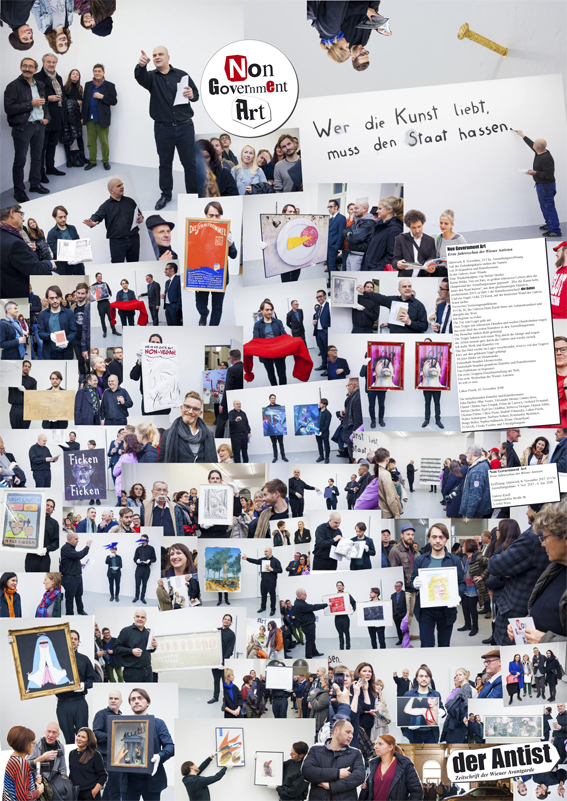 Dise Plakatzeitung mit derFotodokumentation des Eröffnungshappenings der AusstellungNon Government Art ist jedem Heft der 4. Ausgabe des Antist beigelegt