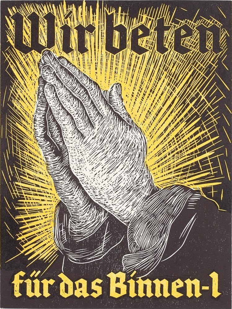 Wir beten für das Binnen-I, Holzschnitt, Lukas Pusch, 2018