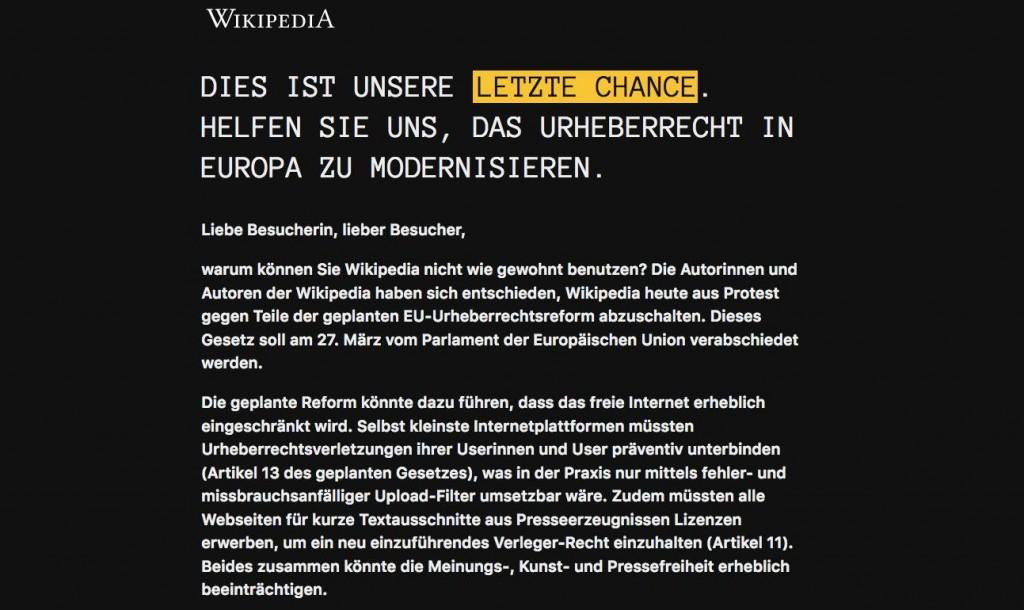 Auch Wikipedia protestierte gegen die EU-Urheberrechtsreform und stellte ihre deutschsprachige Seite einen Tag offline.