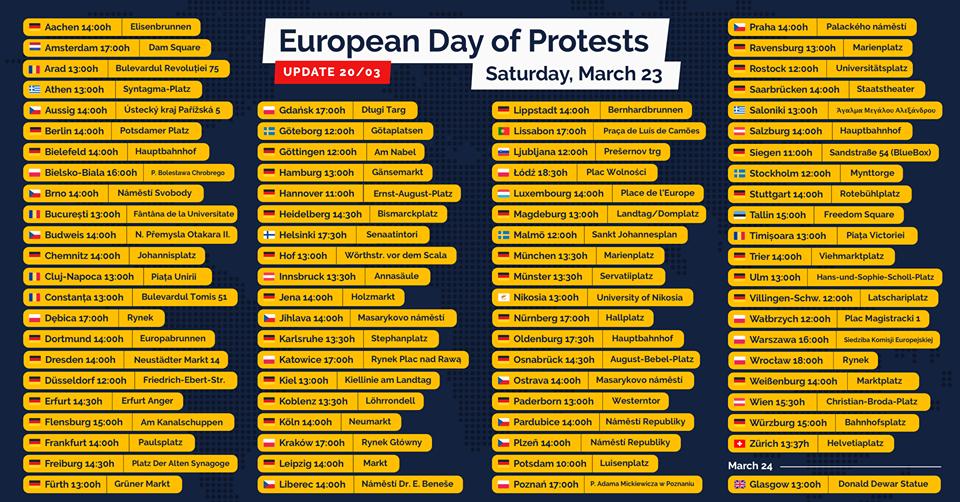 In über 80 Städten Europas wird am 23. März gegen die EU-Urheberrechtsreform demonstriert. Foto: Savetheinternet.info